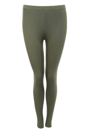 Plain Leggings in Khaki Green FRONT