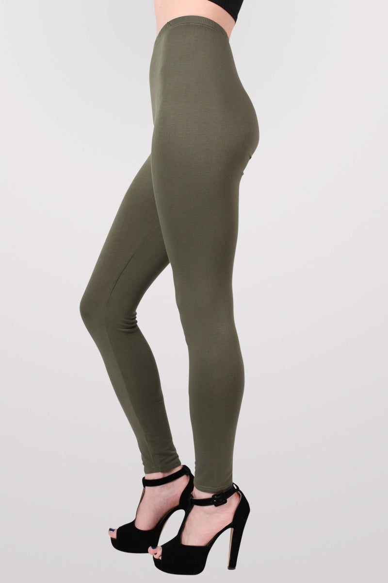 Plain Leggings in Khaki Green MODEL SIDE 2