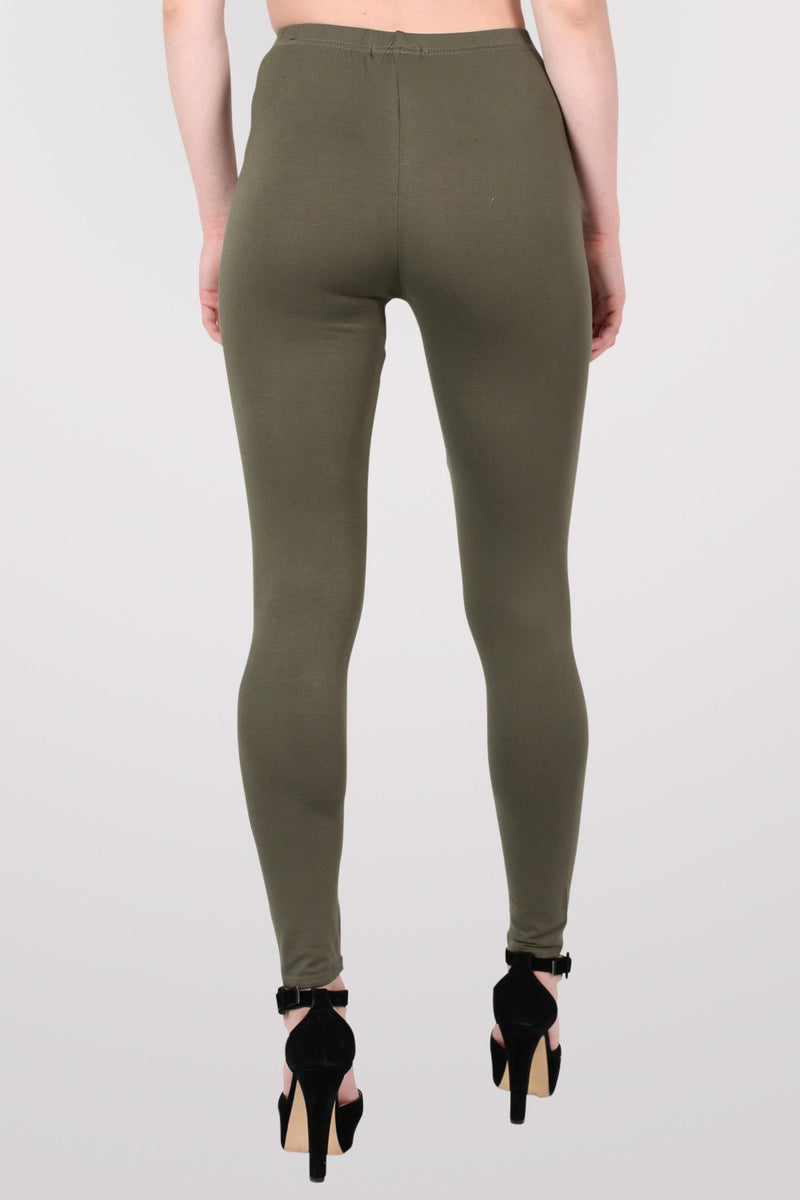 Plain Leggings in Khaki Green MODEL BACK