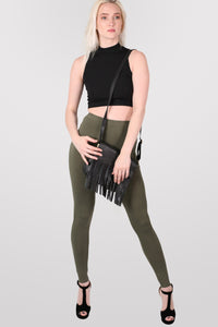 Plain Leggings in Khaki Green MODEL FRONT 2