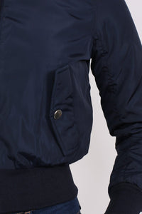 Bomber Jacket in Navy Blue MODEL CLOSE UP
