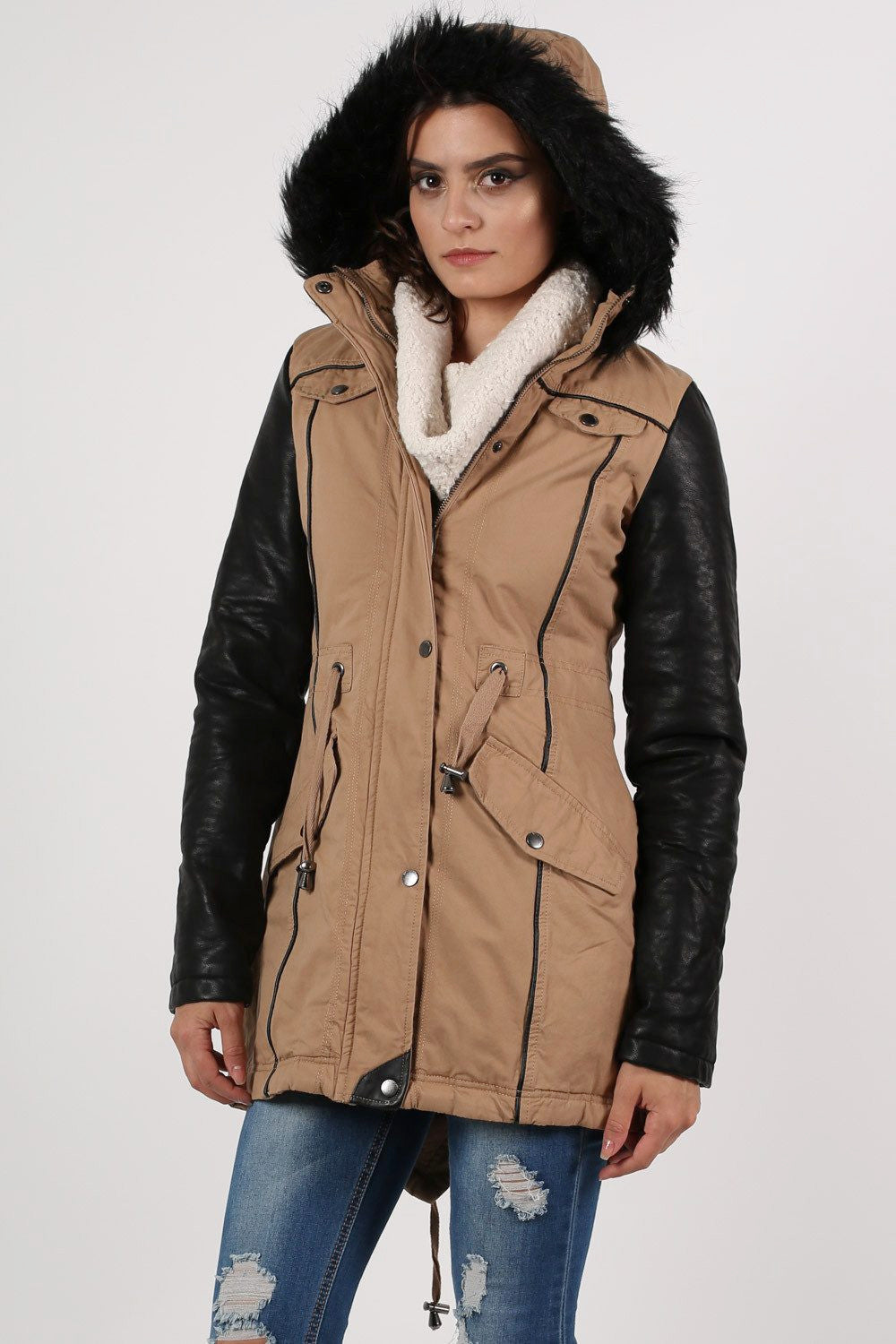 Contrast PU Sleeve Parka Coat in Camel Brown MODEL FRONT