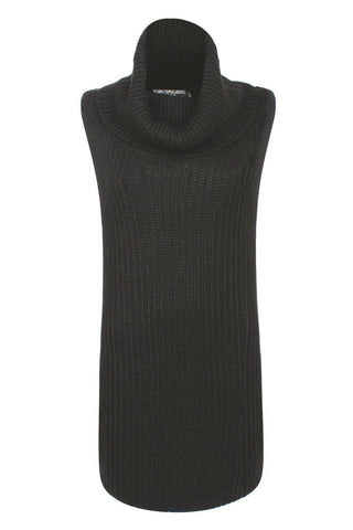 Acacia Sleeveless Cowl Neck Knitted Mini Dress in Black