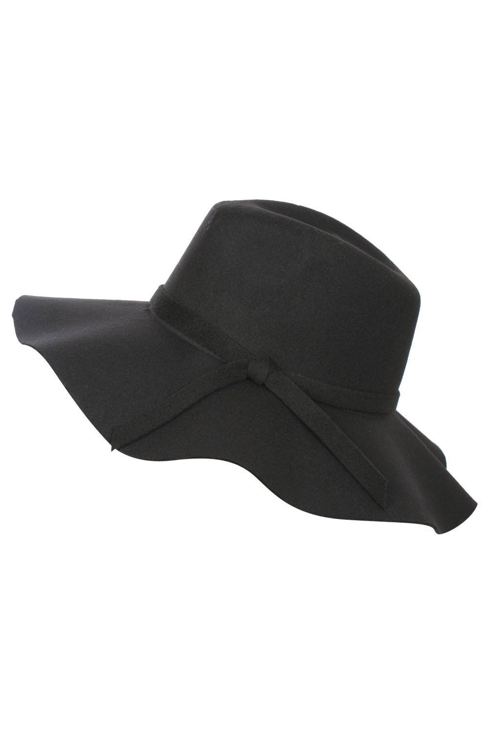 Wide Brim Fedora Hat in Black FRONT