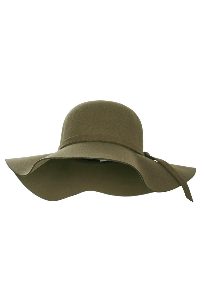 Janelle Floppy Self Fabric Band Hat in Khaki Green BACK