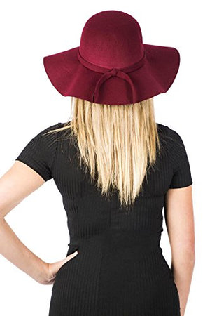 Floppy Self Fabric Band Hat in Wine Red