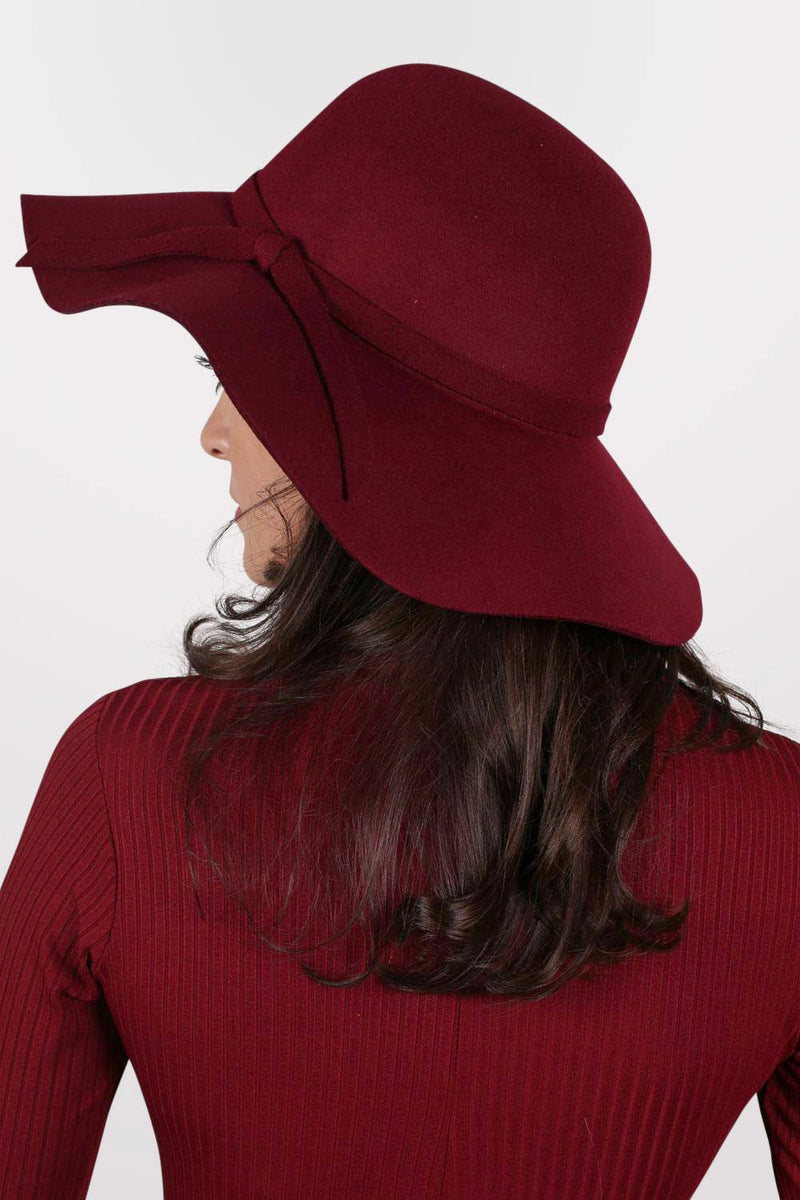 Floppy Self Fabric Band Hat in Wine Red MODEL BACK