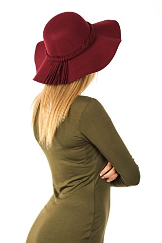 Floppy Plait Detail Self Band Hat in Wine Red