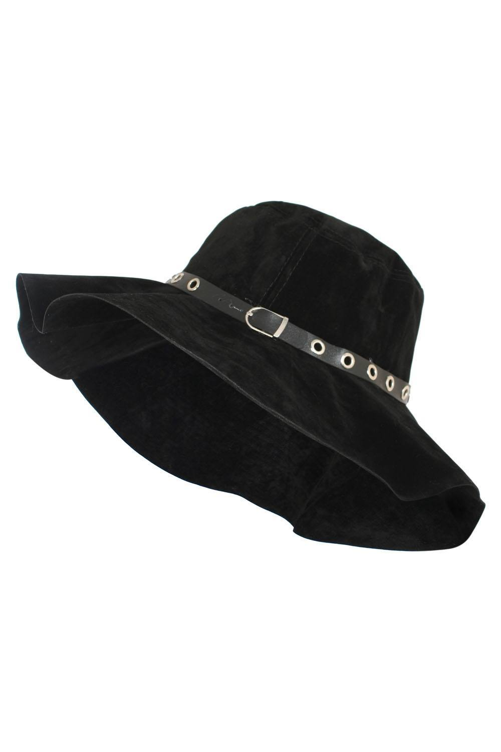 Sabrina Suedette Floppy Hat in Black FRONT
