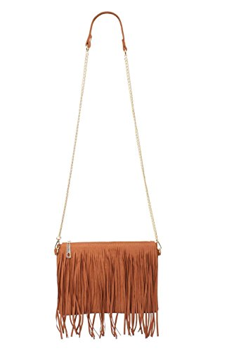 Suedette Tassel Bag in Tan Brown