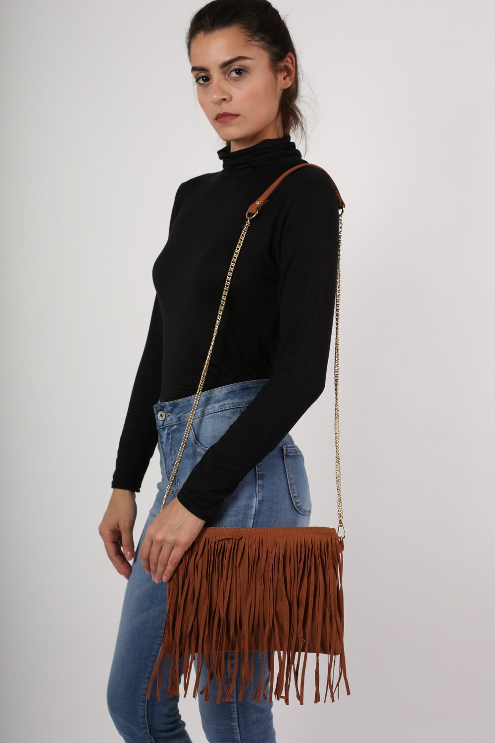 Suedette Tassel Bag in Tan Brown 1
