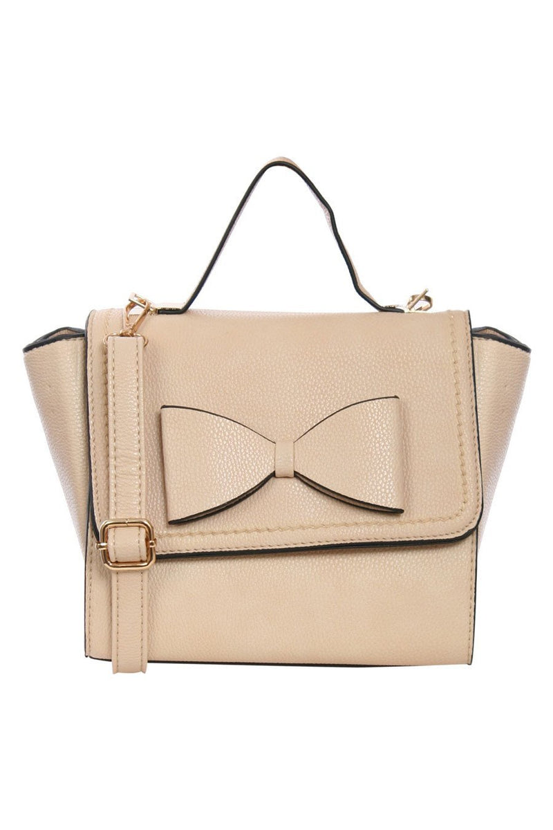 Caris Bow Detail Winged Tote Bag in Beige FRONT