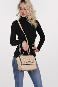 Bow Detail Winged Tote Bag in Beige MODEL FRONT 3