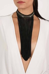 Long Tassel Chain Choker in Black MODEL FRONT 2