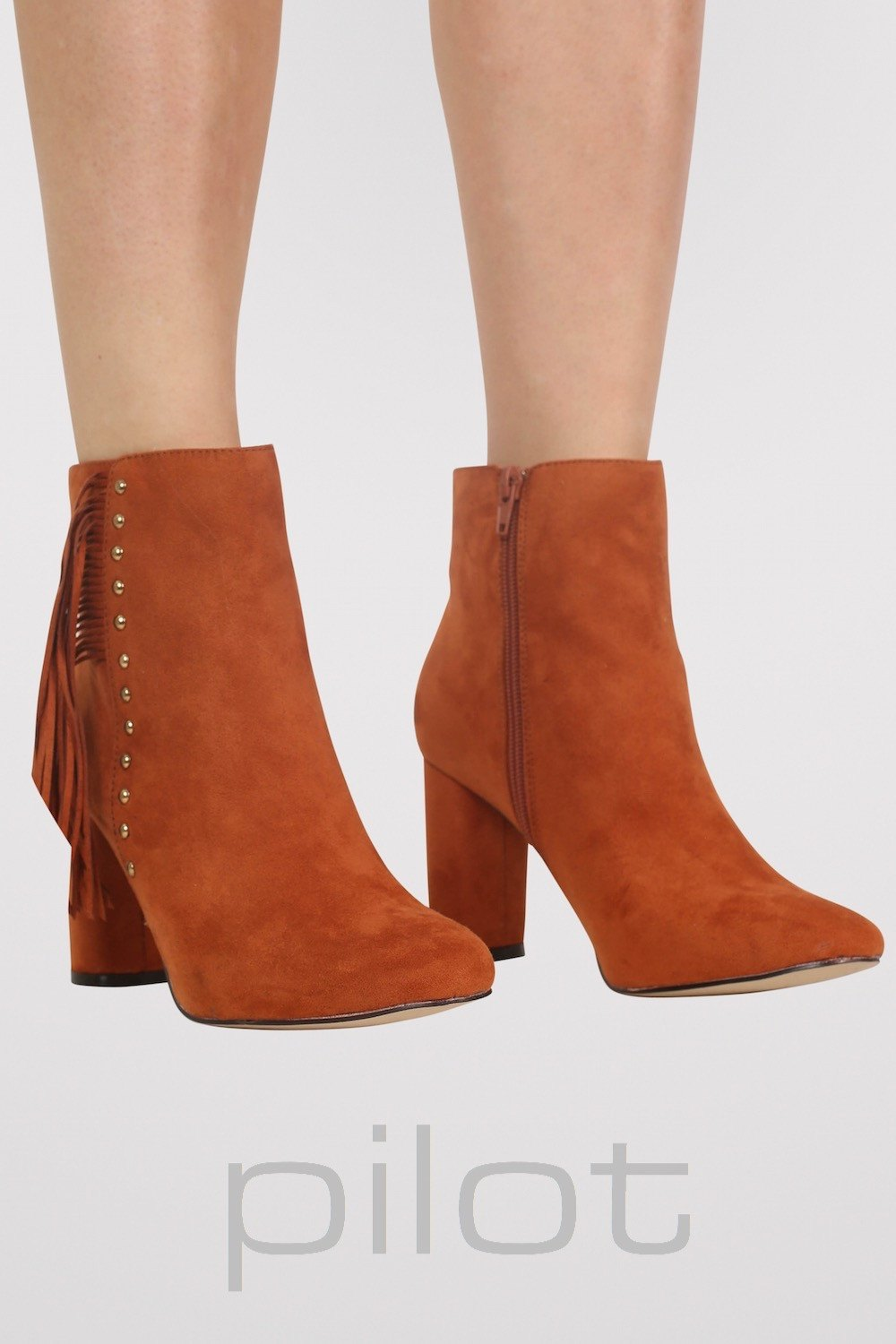 Fringe Stud Detail Ankle Boots in Tan Brown MODEL FRONT