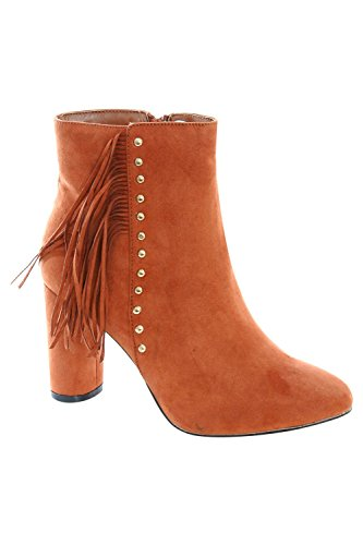 Fringe Stud Detail Ankle Boots in Tan Brown