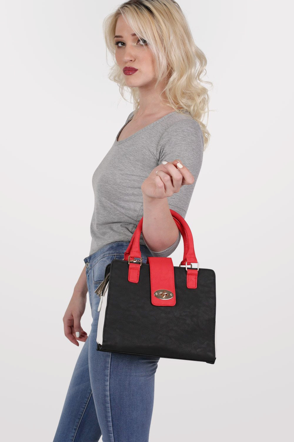 Colour Block Stuctured Bag in Red MODEL SIDE