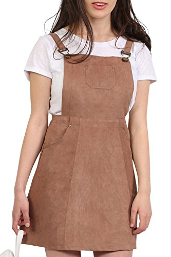 Faux Suede Dungaree Pinafore Dress in Tan Brown