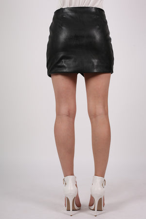 Faux Leather Exposed Zip Mini Skirt