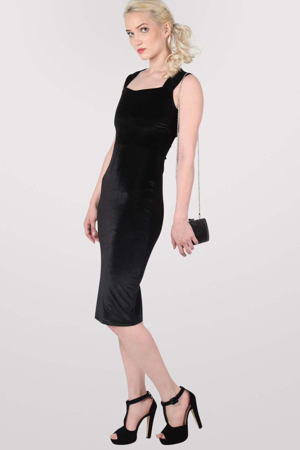 Velvet Bodycon Midi Dress in Black MODEL SIDE