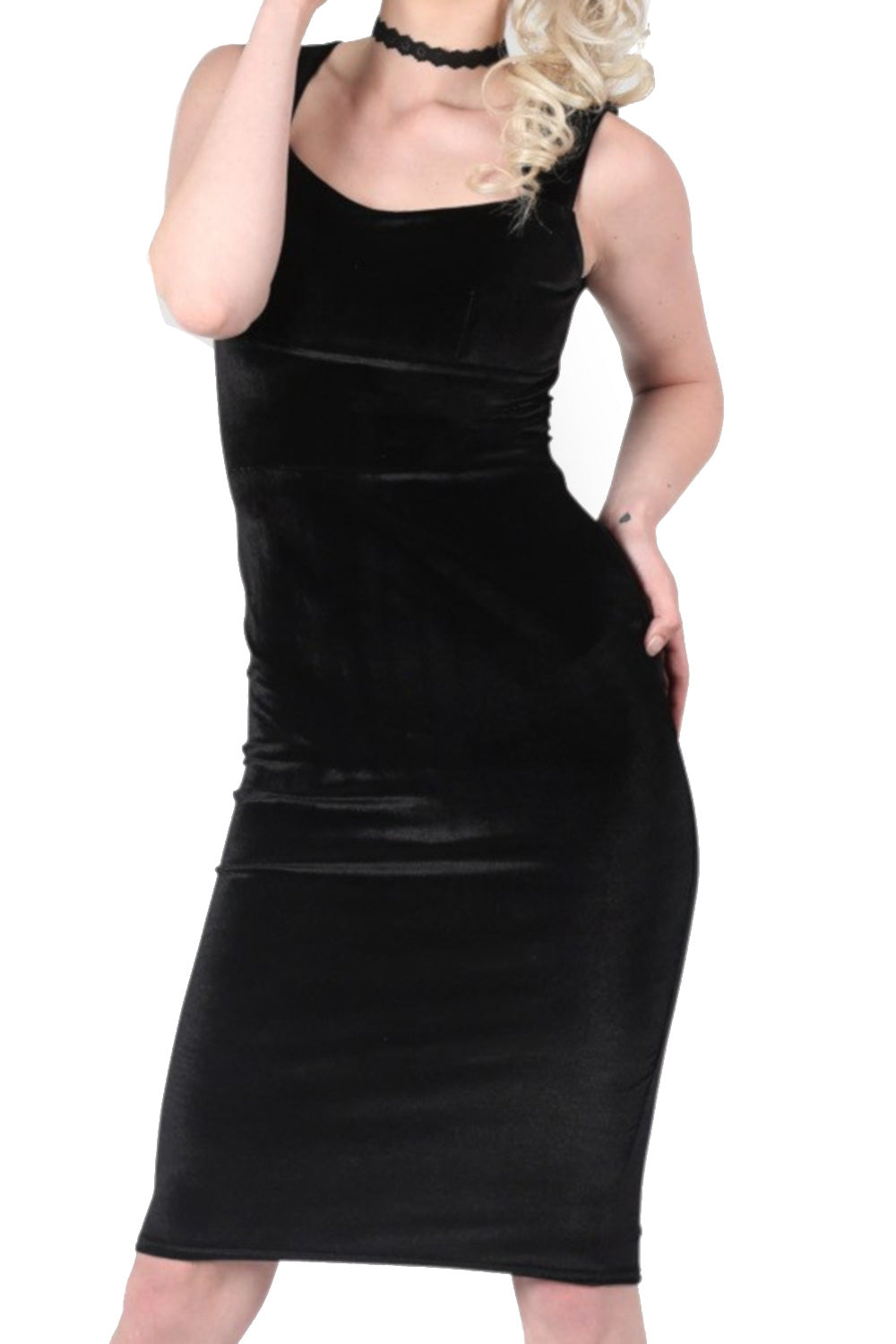 Velvet Bodycon Midi Dress in Black
