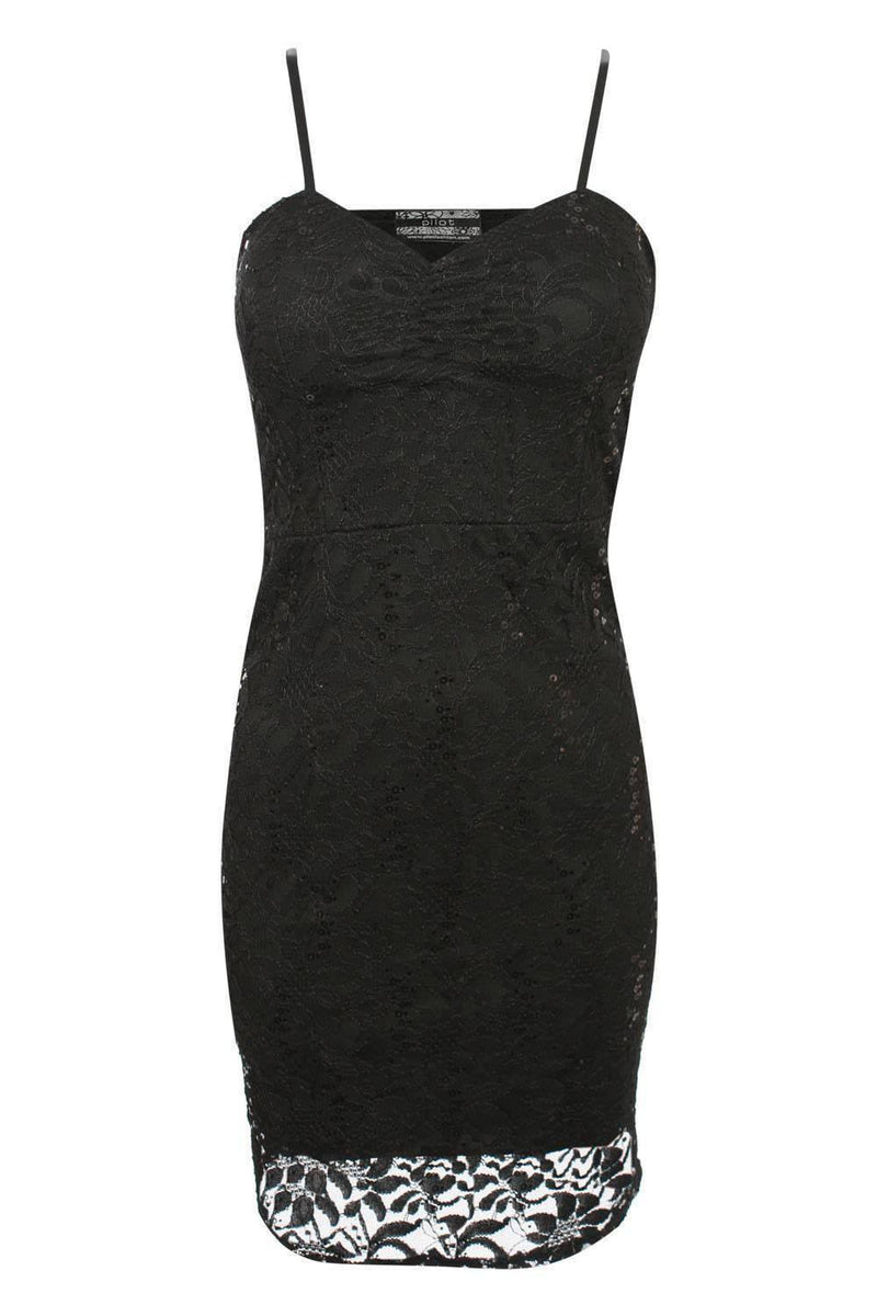 Strappy Sequin Lace Bodycon Dress in Black FRONT
