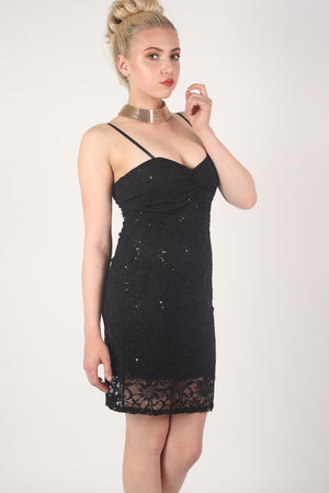 Strappy Sequin Lace Bodycon Dress in Black MODEL SIDE