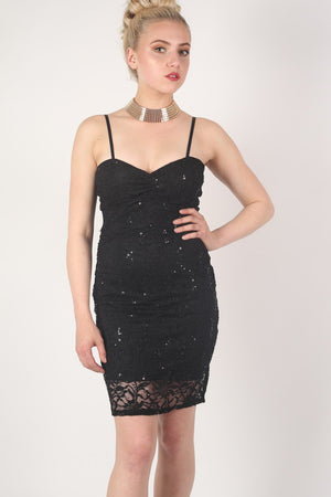 Strappy Sequin Lace Bodycon Dress in Black MODEL FRONT