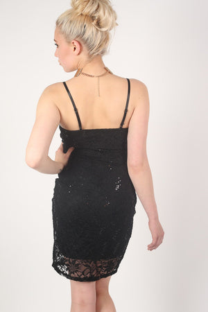 Strappy Sequin Lace Bodycon Dress in Black MODEL BACK
