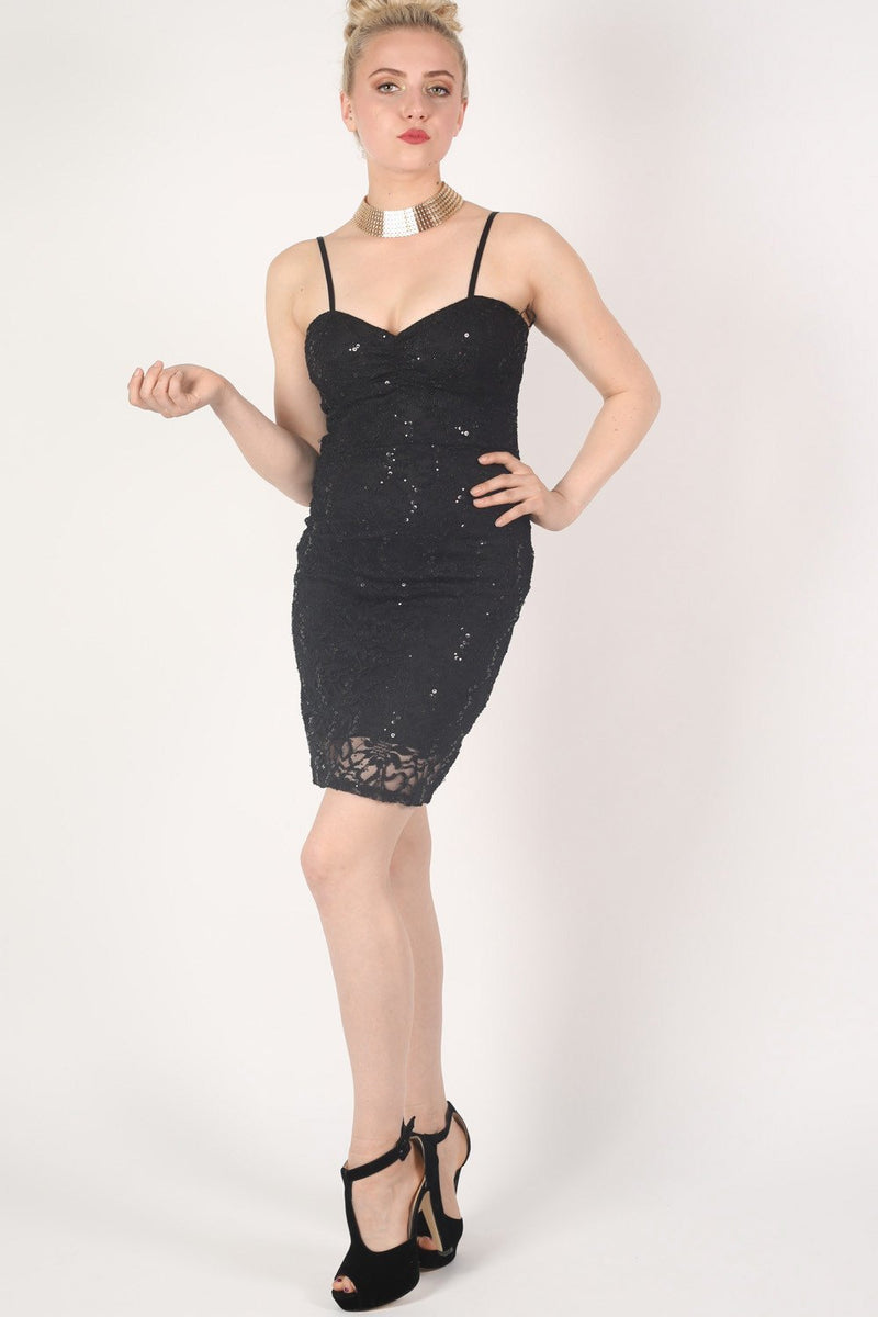 Strappy Sequin Lace Bodycon Dress in Black MODEL FRONT 2