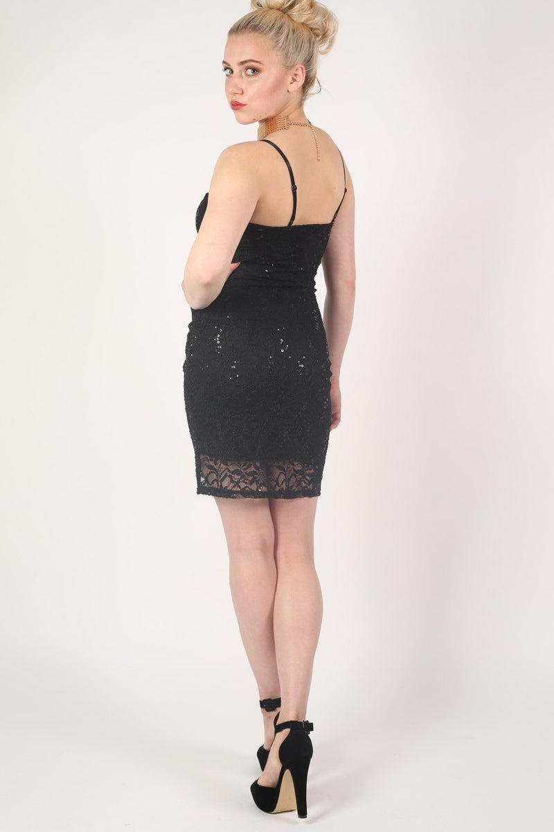 Strappy Sequin Lace Bodycon Dress in Black MODEL BACK 2