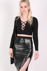 Slinky Lace Up Long Sleeve Crop Top in Black MODEL FRONT