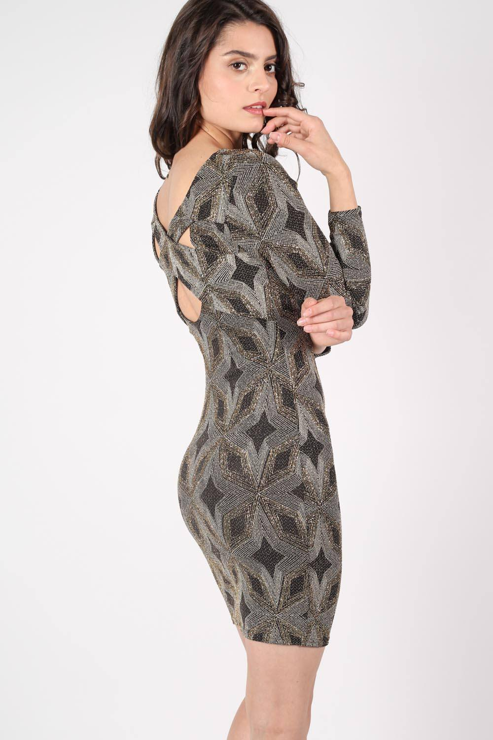 Metallic Print Cross Back Long Sleeve Bodycon Dress in Gold MODEL SIDE