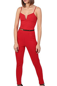 V Front Belted Jumpsuit in Red