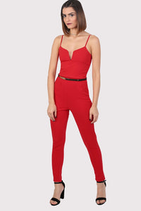 V Front Belted Jumpsuit in Red 1