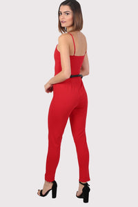 V Front Belted Jumpsuit in Red 2