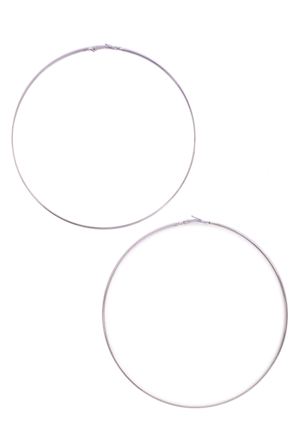 Flat Edged Large Hoop Earrings in Silver