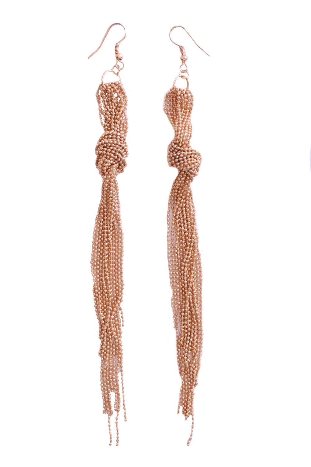 Knotted Chain Tassel Earrings in Gold
