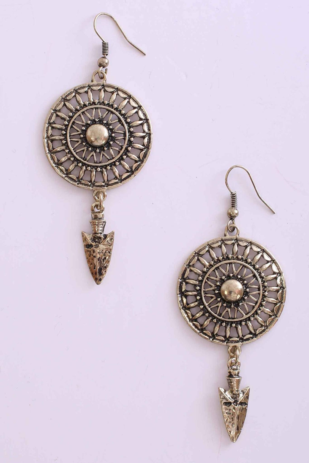 Cut Out Disc Drop Earrings in Gold 1