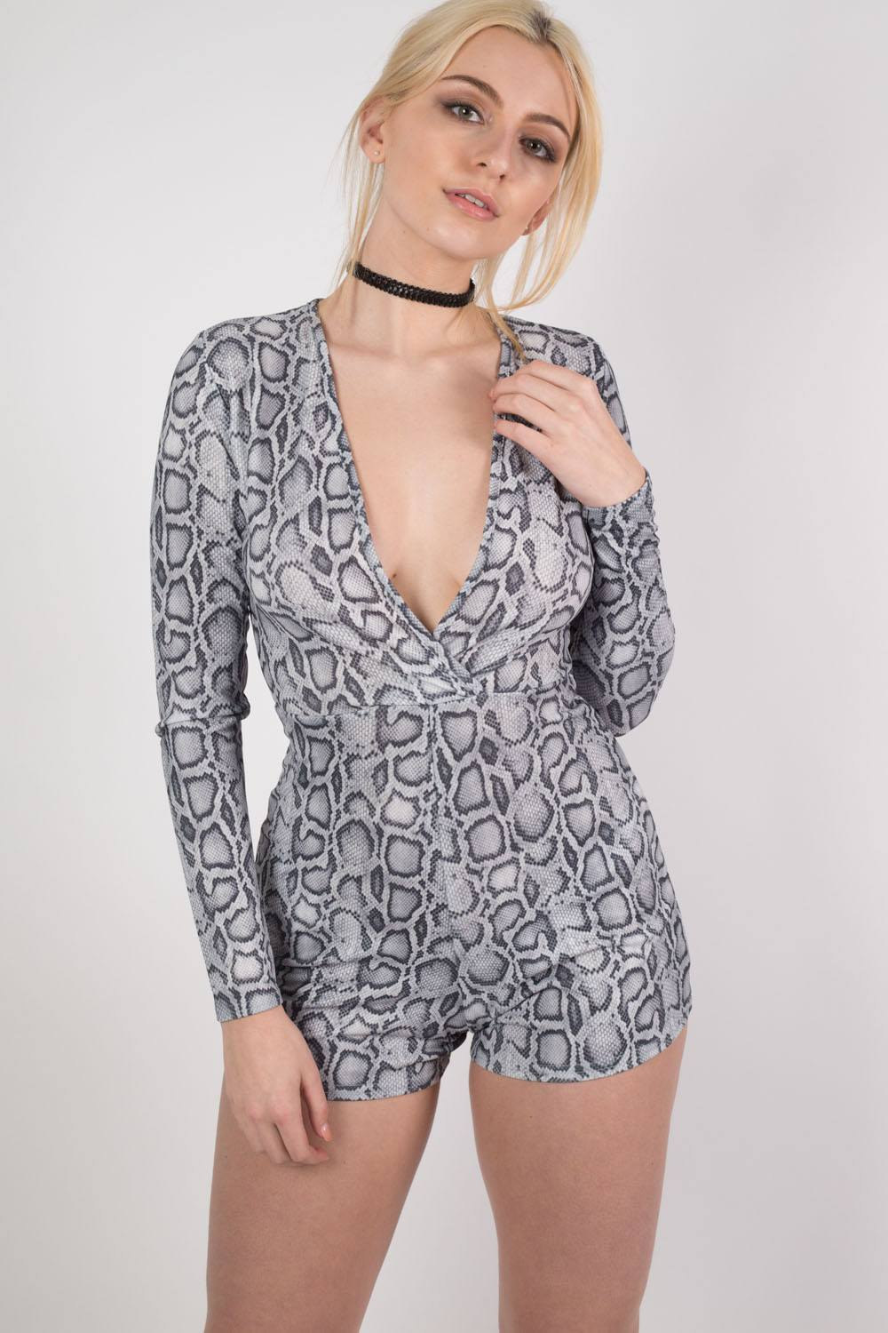Snake Print Wrap Front Playsuit in Grey MODEL FRONT