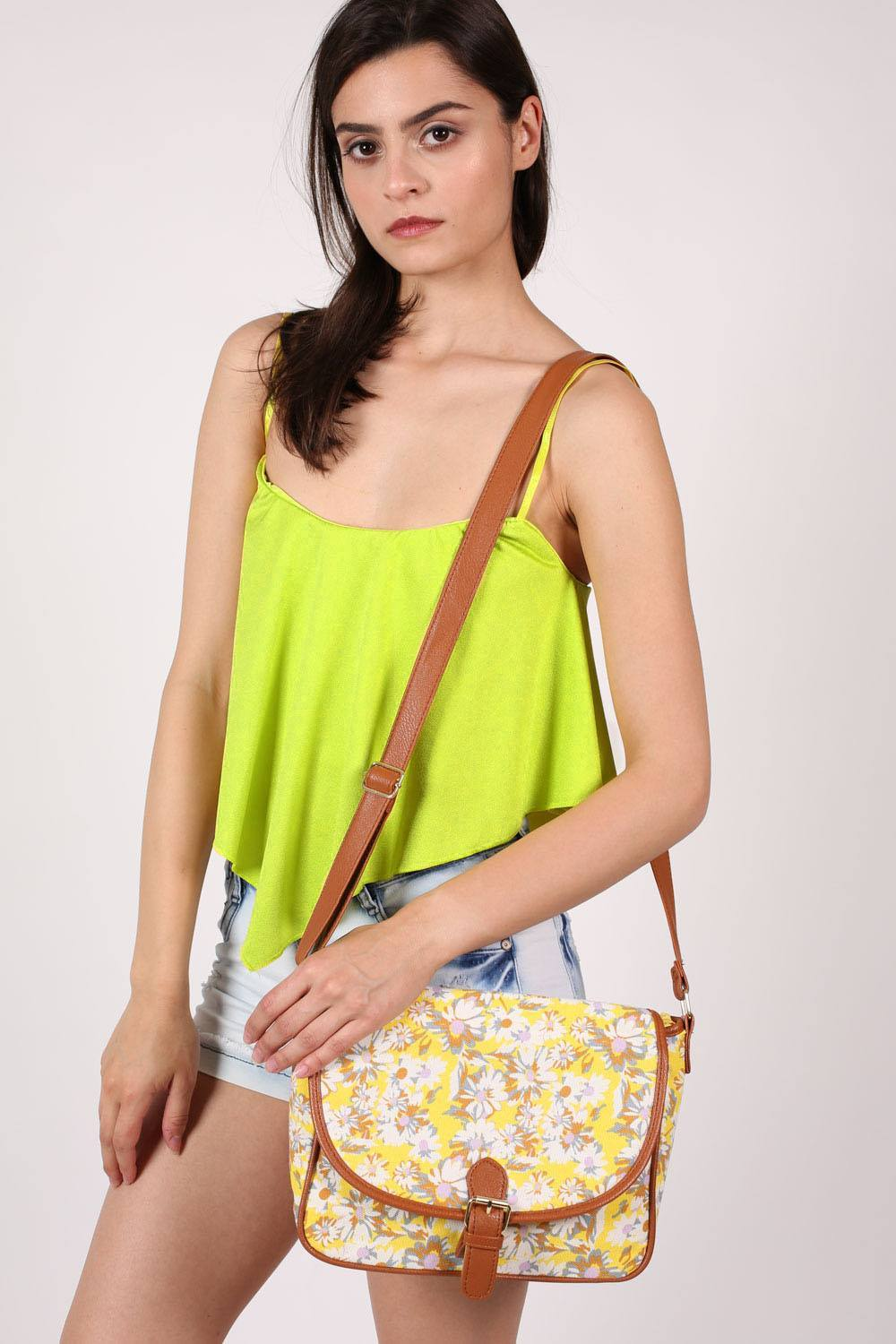 Daisy Print Satchel in Yellow MODEL FRONT