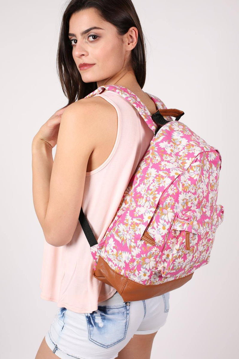 Daisy Print Backpack in Magenta Pink MODEL SIDE