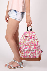 Daisy Print Backpack in Magenta Pink MODEL SIDE 2