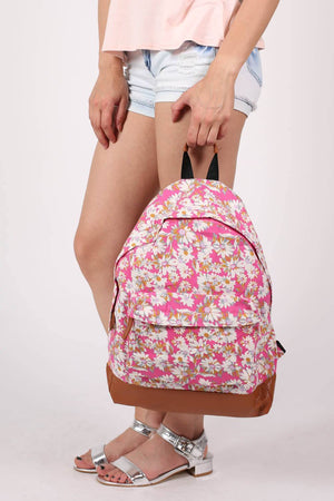 Daisy Print Backpack in Magenta Pink MODEL SIDE 3