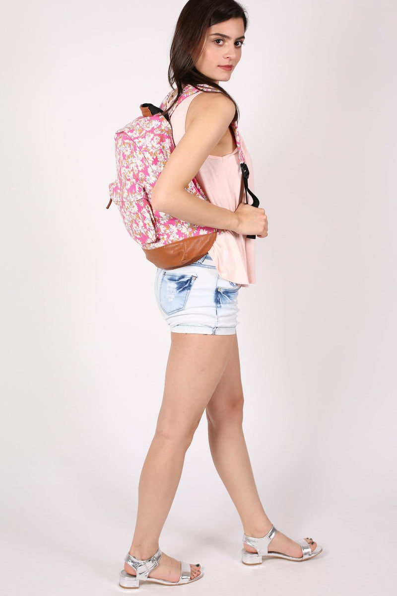 Daisy Print Backpack in Magenta Pink MODEL SIDE 4
