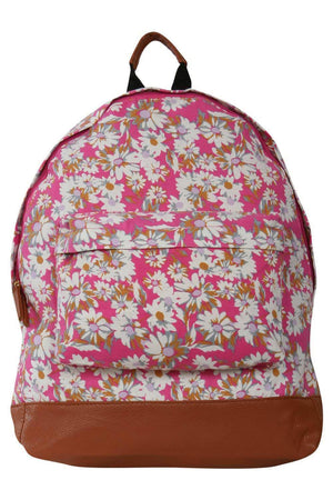 Daisy Print Backpack in Magenta Pink FRONT