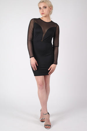 Long Sleeve Mesh Detail Bodycon Dress in Black MODEL FRONT
