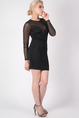 Long Sleeve Mesh Detail Bodycon Dress in Black MODEL FRONT 2