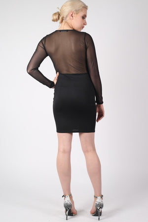 Long Sleeve Mesh Detail Bodycon Dress in Black MODEL BACK