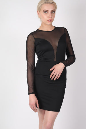 Long Sleeve Mesh Detail Bodycon Dress in Black MODEL FRONT 3